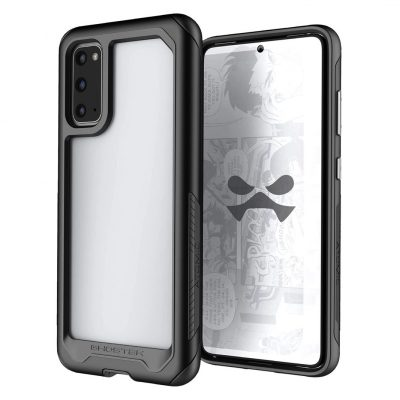 Ghostek Atomic Slim Galaxy S20 Clear Case with Super Tough Space Metal Bumper Design Military Grade Armor Heavy Duty Protection Wireless Charging Compatible 2020 Galaxy S20 (6.2 Inch) - (Black)