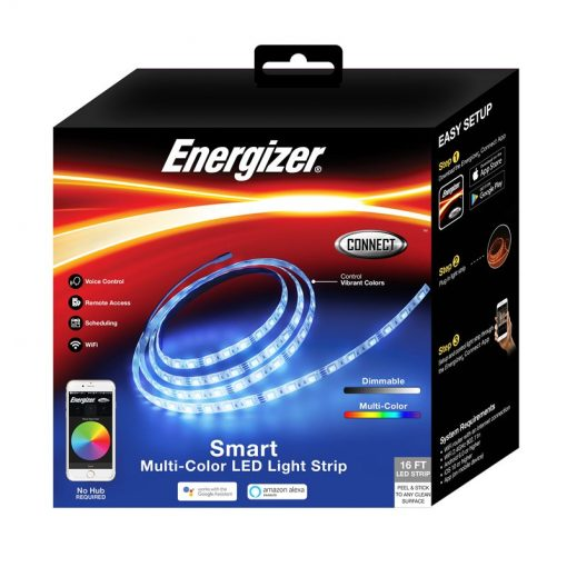 ENERGIZER-SMART-MULTI-COLOR-LED-LIGHT-STRIP-16FT With Smartphone Control